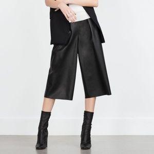 Zara Faux Leather Black Culottes
